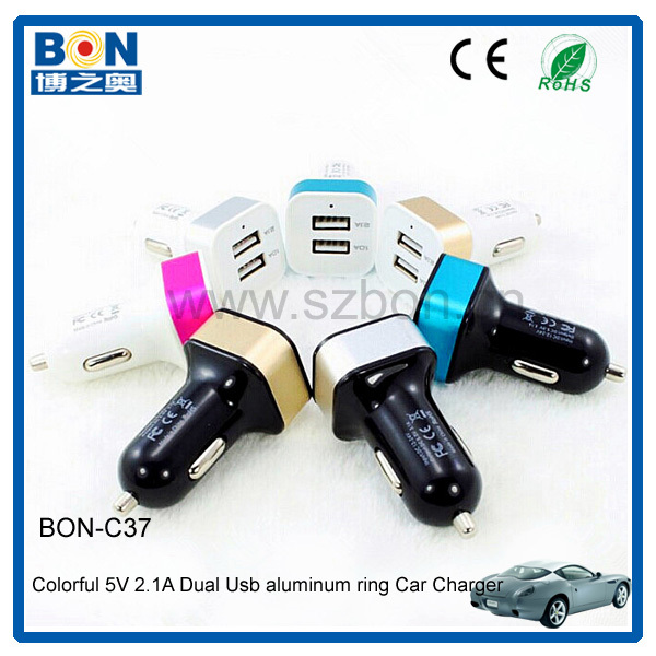 2.1A Dual 2 Ports USB Car Power Charger Adapter Black