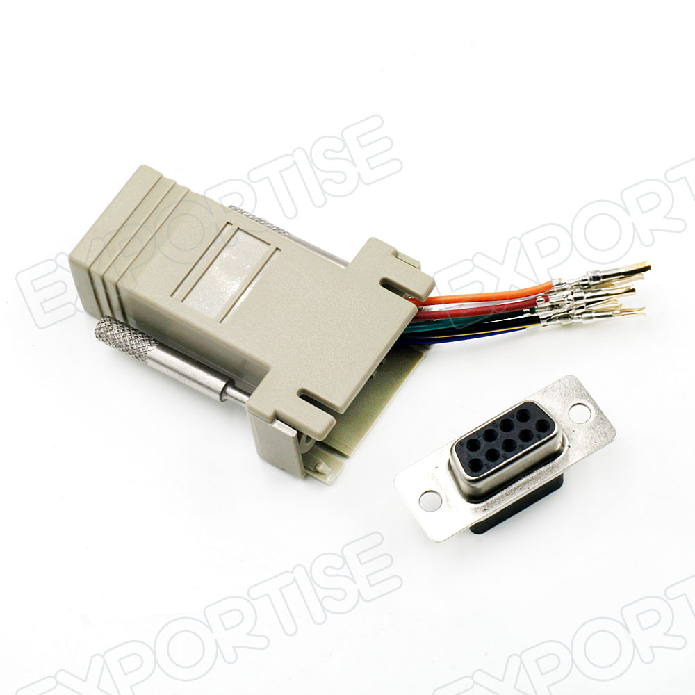 DB9 Female to RJ45 Female Modular Adapter Connector 8C Serial RS-232