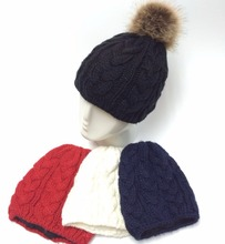 detachable faux fur pompom knitted acrylic winter women girl's hat