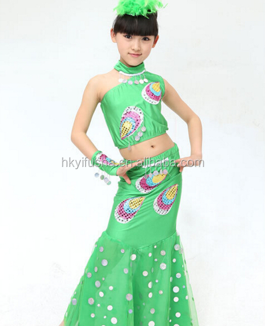One shoulder sequin embroid peacock latin dancing costume