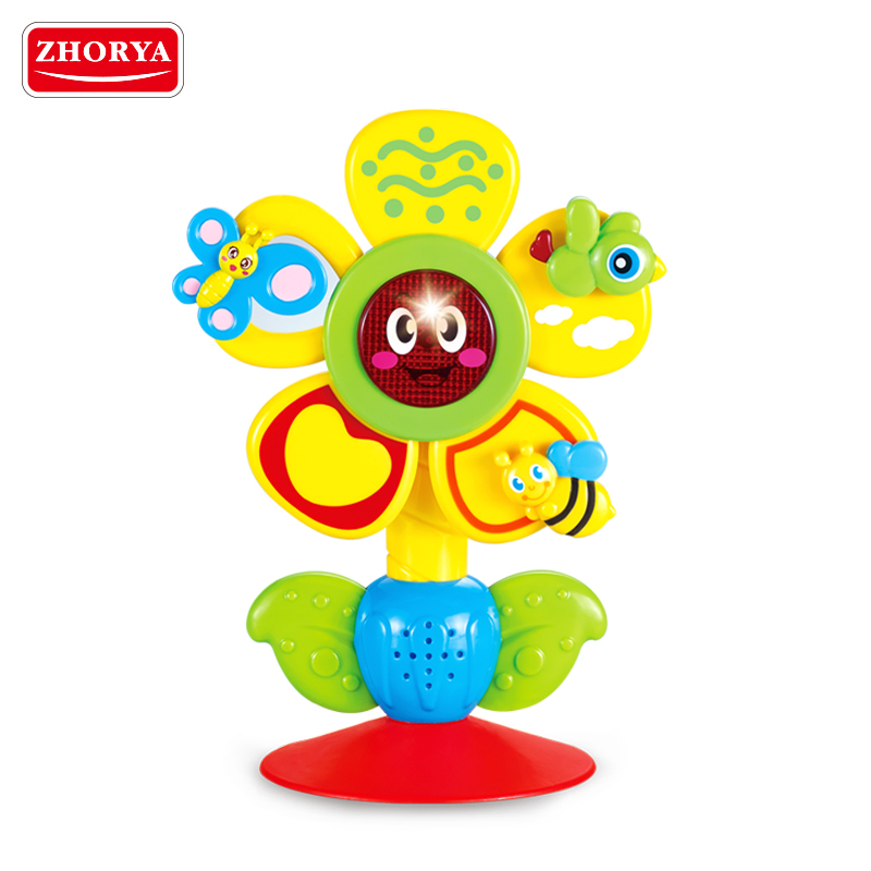 Zhorya cheap baby battery operated lovely cartoon colorful flower toy with music and light