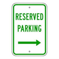 Brady 115547, Traffic Sign, Engineer Grade, RESERVED PARKING (RIGHT ARROW) HANDICAPPED PICTOGRAM