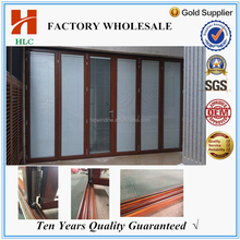 Double insulated glass horizontal open style sliding folding doors