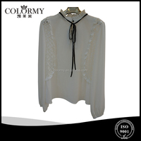 ladies fashion office chiffon hollow out long sleeve court blouse manufacture