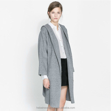 2015 Women Coat Gray Wool Blended Hood Trench Belt Muffled Hooded Long Sleeve Loose Fit Coat