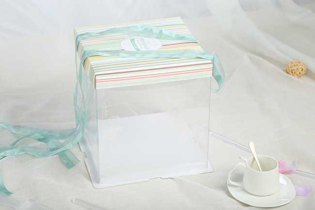 Anti-Scratch high folding clear 12inch cake boxes wholesale
