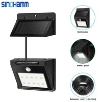 Solar Light 10 Ultra Bright LEDs Motion Sensor Security Light Waterproof Unique Detachable Design with Extra Long Extension Cord