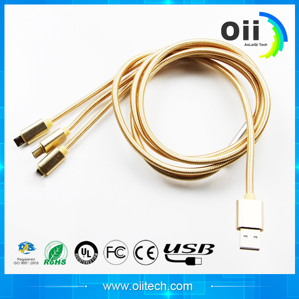 The latest factory outlet micro usb cable 2.1 A quick charge woven recharge for apple and samsung