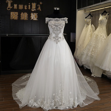 New Fashionable Off Shoulder Sweetheart Beaded Lace Organza Wedding Dress in 2016