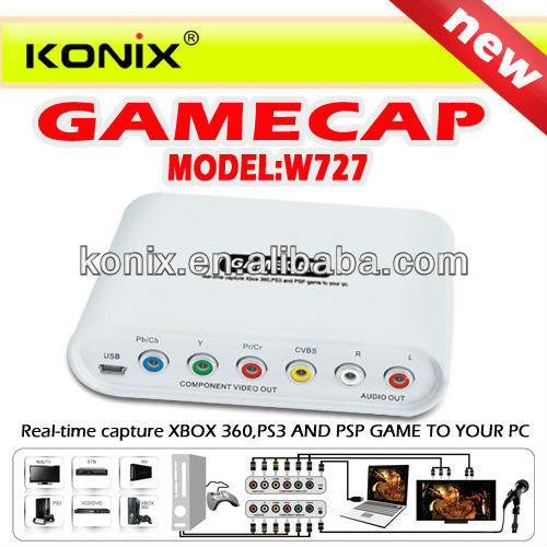 GameCap Game Capture For HD Component Video Xbox 360 PSP PS3 Real-time YPbPr CVBS RCA Audio Recorder Singapore Post Free