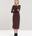 NEWEST LONG SLEEVE AUTUMN/WINTER BASIC wine red dress for lady