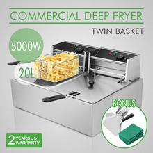 Countertop Dual Tank Stainless Steel 5000W 20L Commercial Electric Deep Fryer