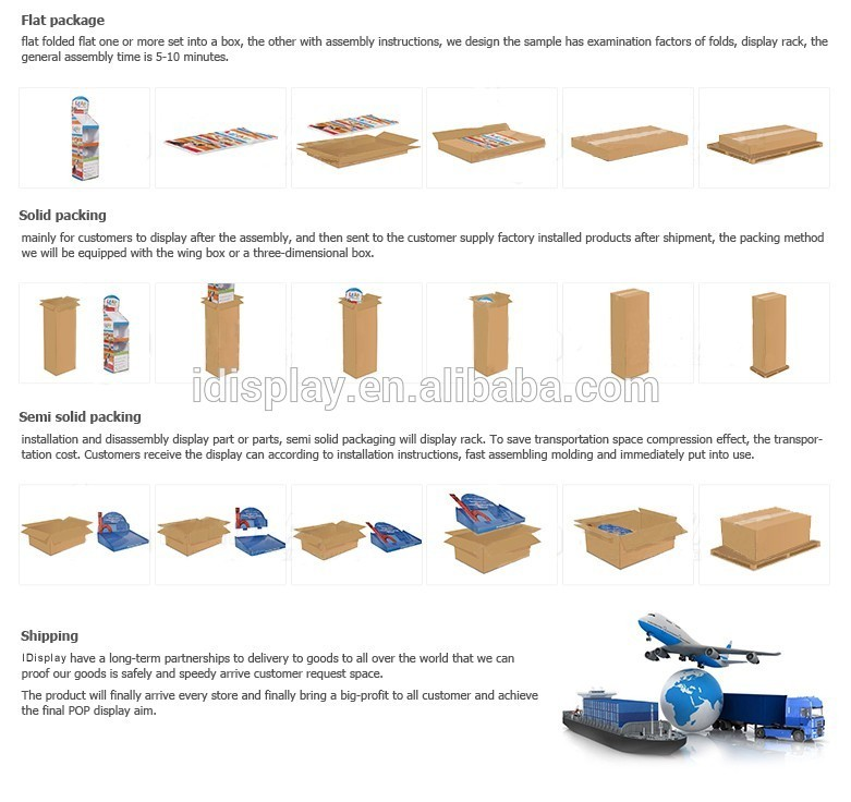 Paper Mobile Phone Cardboard Retail Display With Hooks