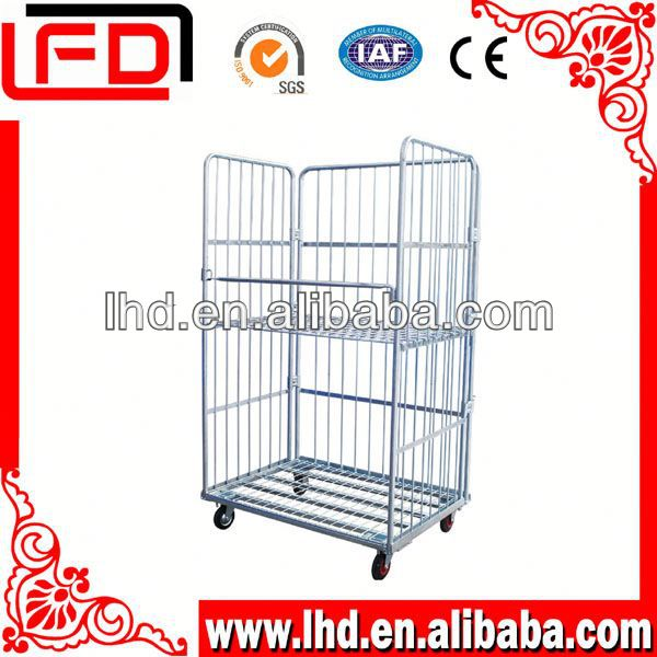 3-side transports metal foldable roll carts