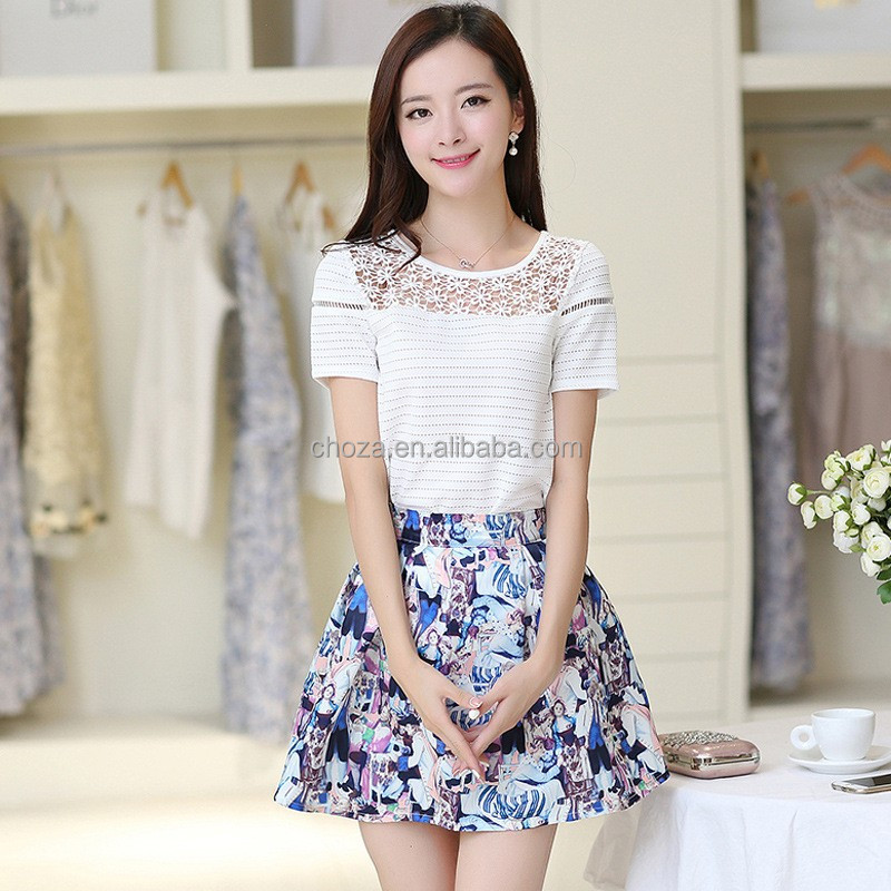 C21257B New Arrival Young Ladies Summer Fashion Shirt Skirt Two Pieces Clothes