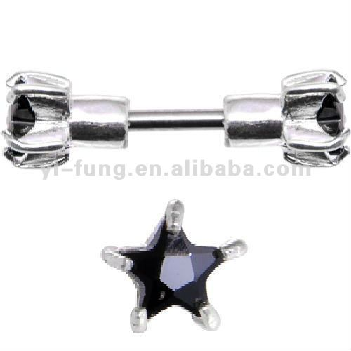 Sterling Silver 925 Jet Cubic Zirconia Star Cartilage Earring Stud