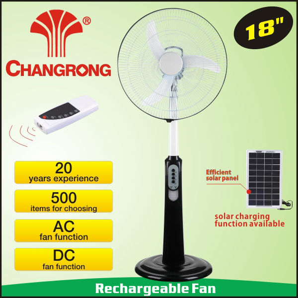 18'' usb led clock fan with rechargeable battery