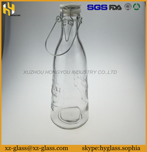 Rich types fresh milk clear glass bottle with ceramic cap wholesale 1000ml