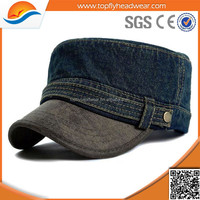 custom high quality fashion jean washed military cap/oem military cap manufacture