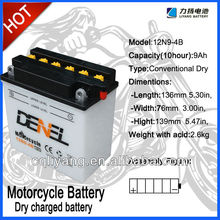 12N9-4B Dry Charged motorcycle battery,good quality for street motorcycle SL125-5