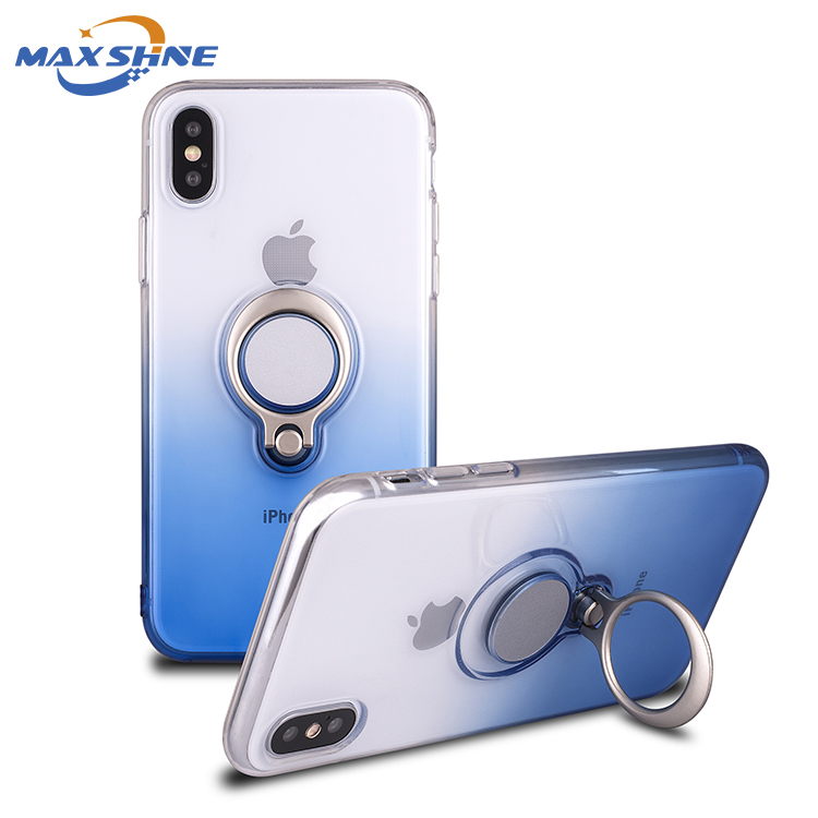 New arrival anti-shock mobile phone case for iphone X back cover phone case with magnetic ring holder