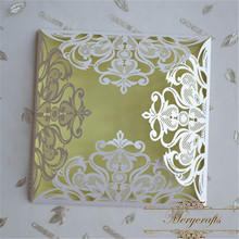 Graceful pearl white laser cut wholesale silk glamorous wedding invitation