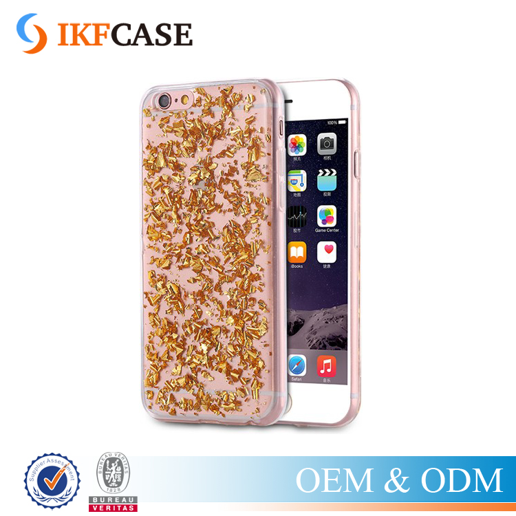 Bling Bling Clear Gold Foil Paillette Sequin Cover Silicone Soft Back Phone Case For Iphone 4G 5G 6G 6S 5C