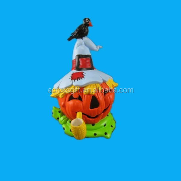 Funny Handpainted pumpkin shaped Ceramic lantern with plug