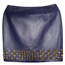 Top quality well designed sexy woman open back lamb nappa leather pencil skirt sale