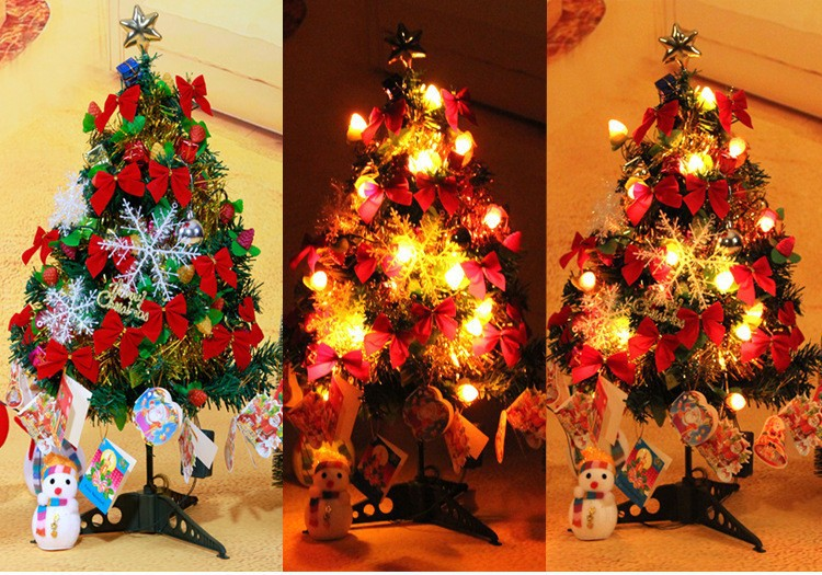 2015 christmas gift christmas tree decoration,60cm small christmas tree with light
