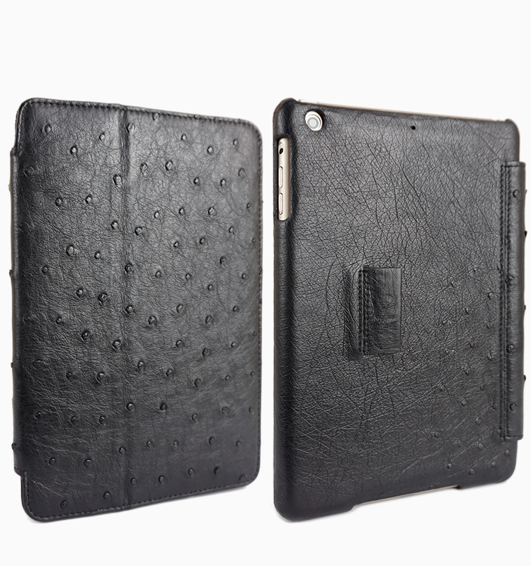 Best Quality Luxury Genuine Ostrich Leather Flip Case for iPad Air 2 Case