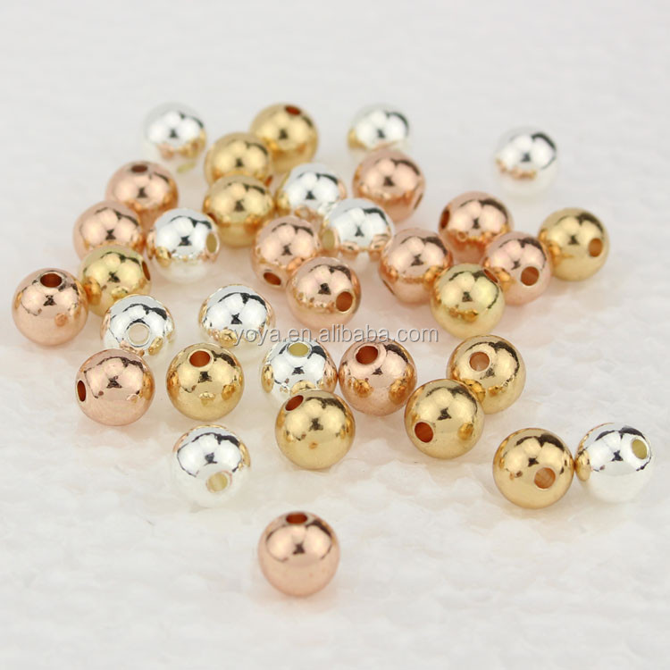 JF0244 HIgh Quality Silver/gold //rose gold solid filled Metal Round Beads