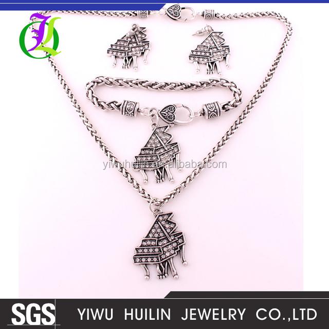 IMG 4978 Yiwu Huilin Jewelry wholesale new art piano crystal pendant jewelry Sets earring fascinating handmade jewelry set