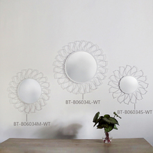 Sunshine Fire Round Flower Glass 3D Mirror Wall Decal, Silver