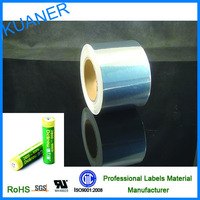 Bright PET self adhesive shrink film for battery labels