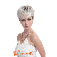Heat-friendly Synthetic hair Short Silver Grey Wig For Old Lady