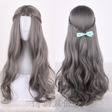 New Arrival Synthetic Hair Long Curly Grey Color Cosplay Wig