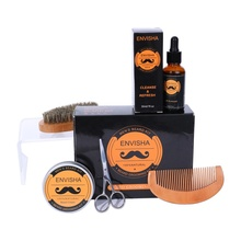 2019 MOQ100 Private Label Beard Grooming Gift Set With Beard Wax Wooden Brush Cloth Bag Beard Growth Grooming Care Kit For Men
