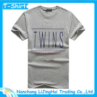 Latest Mens grey cotton/polyester t shirt with words printing