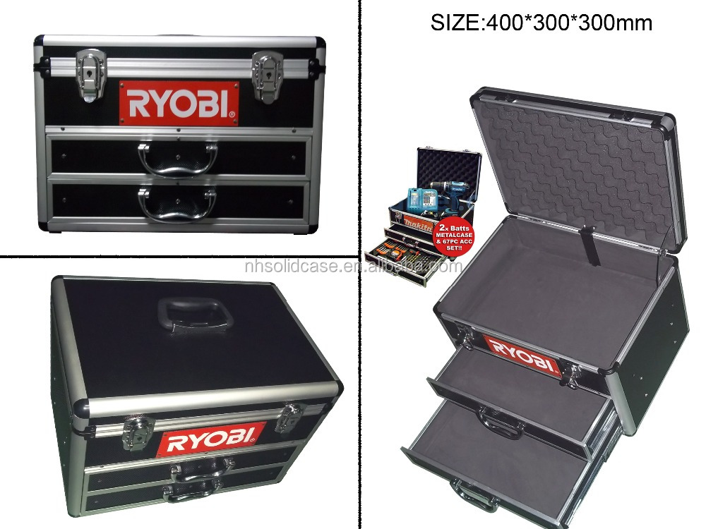Multi-functional aluminum tool case with drawers