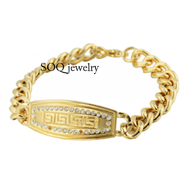 New Design Mens Fashion 316I Stainless Steel Gold Bracelet with Pure CZ Diamond Charm Jewelry