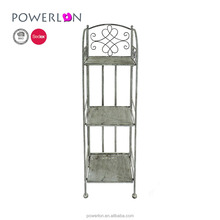 Wrought iron antique grey metal 3 tier folding shelf plant stand