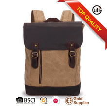 luxury handmade high quality vintage leather&canvas backpack