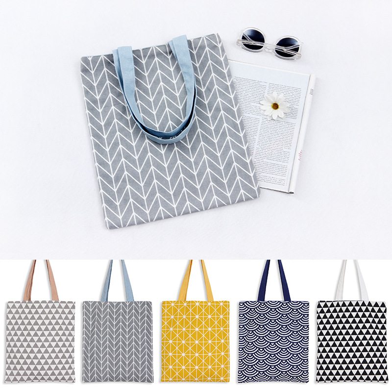 2017 Custom fashion Double sided Usable Cotton Linen Shopping Bag Tote Multi Color Geometry handbag