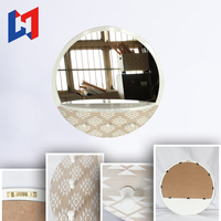 High quality Living room Antique Wooden round Framed Decorative Wall Mirror