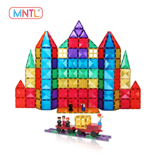Custom 128pcs plastic magnetic tiles building blocks educational toys for kids CPSC, CE, EN71, ASTM