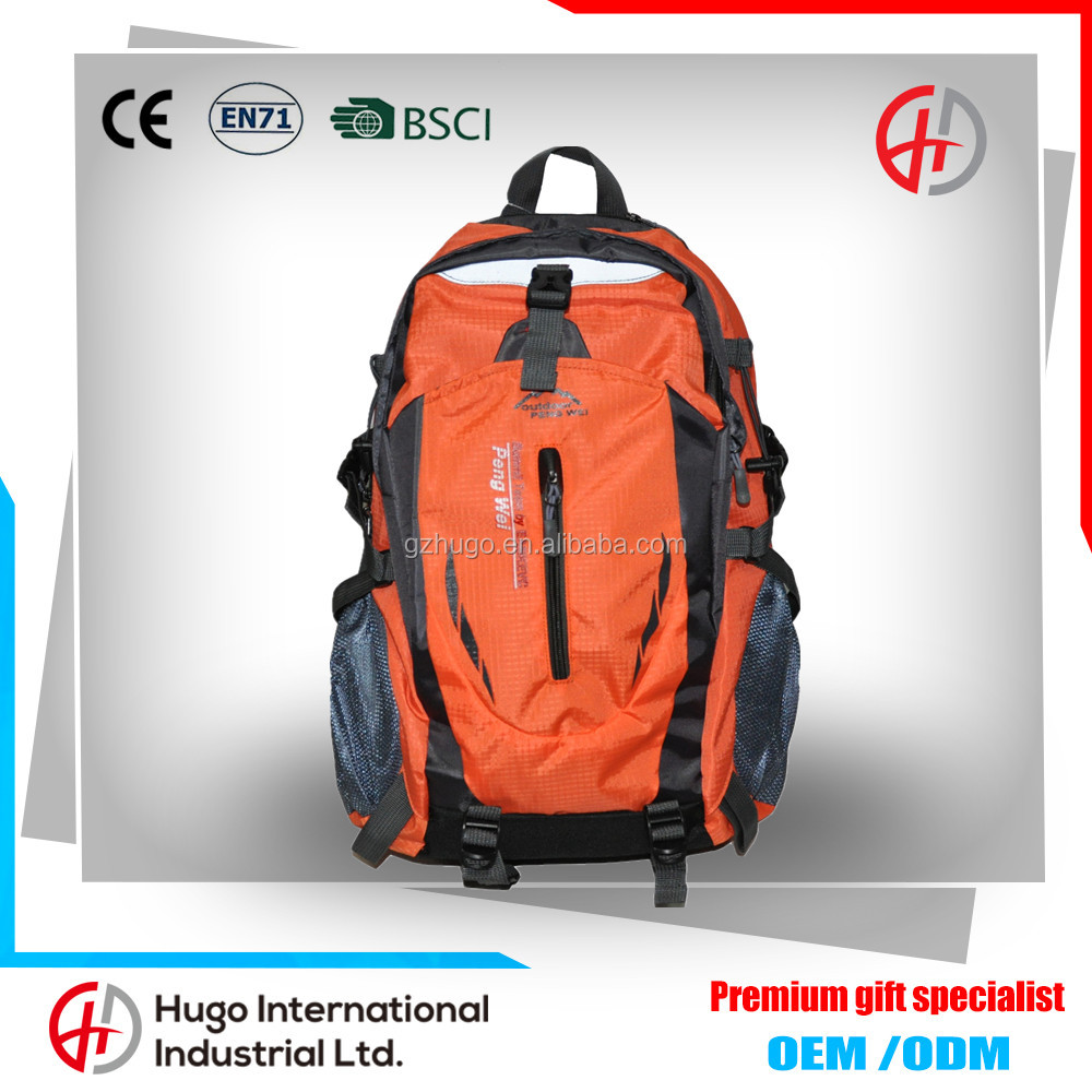 Fashion Design Unisex Promotional Custom Waterproof Mountaineering Camping Hiking Durable Polyester Backpack