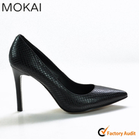 A120-A1 BLACK famous brand genuine leather elegant women high heel dress/office shoes