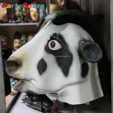 halloween costume adults animal realistic bull comic milk cattle cow rubber latex face head mask for carnival