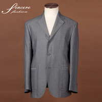 Men's formal notch lapel 3 buttons jakcet dingo blue jacket Cotton Linen Silk jacket